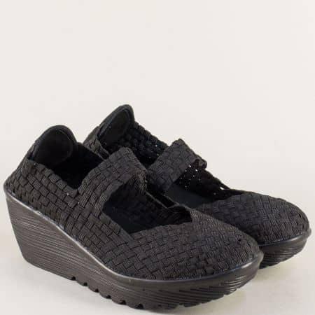 Черни дамски обувки на платформа с Memory пяна 15671ch