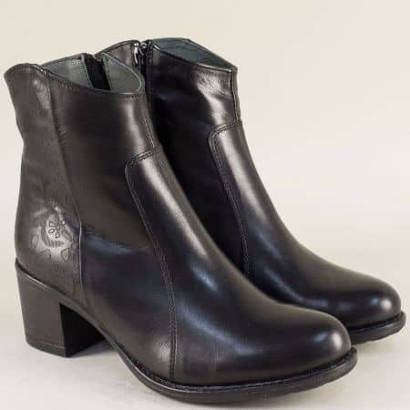 Черни дамски боти на среден ток от естествена кожа  1570922ch