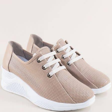 Дамски обувки с връзки и перфорация в бежово на платформа 1575bj