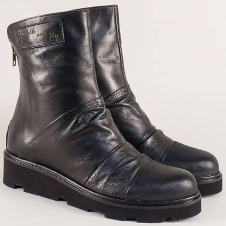Черни дамски боти от естествена кожа с цип отзад 1576183ch