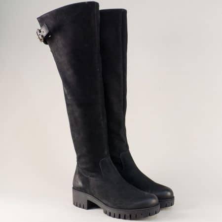 Черни дамски ботуши от естествена кожа на стабилно ходило 1576764avch