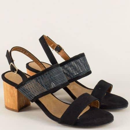 Черни дамски сандали на стабилен среден ток и практична каишка 158093ch