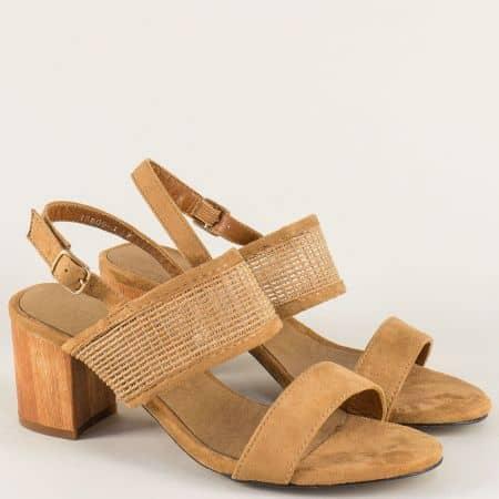 Кафяви дамски сандали на стабилен среден ток  158093k