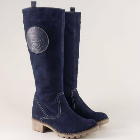 Сини дамски ботуши от естествен велур на каучуково ходило 15181044vs
