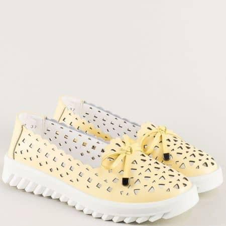 Жълти дамски обувки от естествена кожа с перфорация 159017j