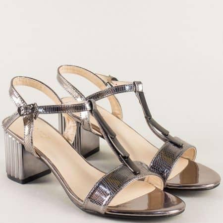 Бронзови дамски сандали на среден ток- ELIZA 159239brz