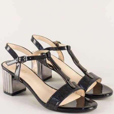 Черни лачени дамски сандали на среден ток 159239ch