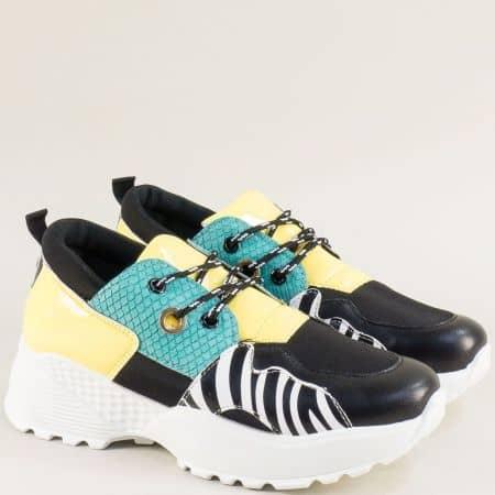 Спортни дамски обувки в черно и жълто на платформа 1593jps