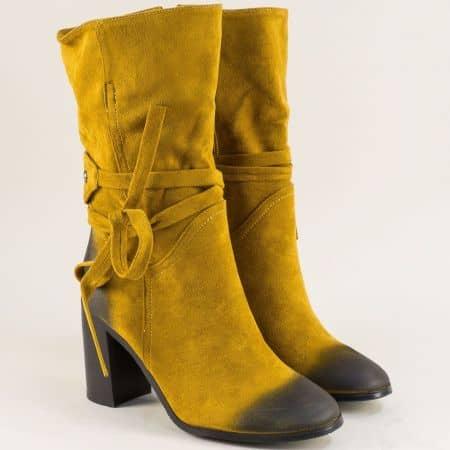 Жълти дамски боти на висок ток с коланче около глезена 15950nj
