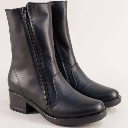 Черни боти с два ципа от естествена кожа на български производител 1596658ch