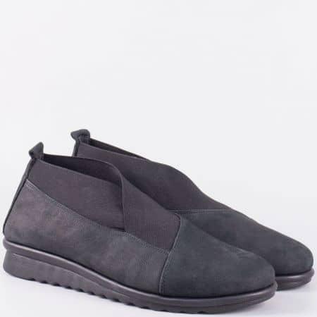 Леки и удобни дамски обувки с ластик- The FLEXX от черна естествена кожа 16001ch