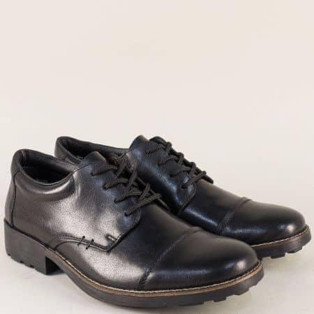Мъжки обувки с грайфер от естествена кожа в черен цвят 16010ch