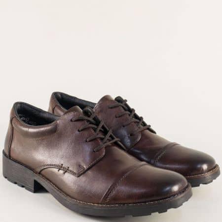 Тъмно кафяви мъжки обувки от естествена кожа- Rieker  16010kk