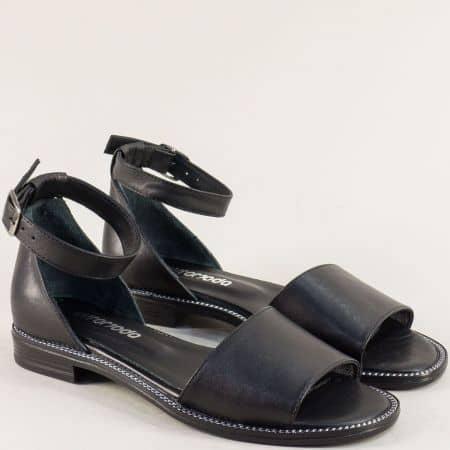 Черни дамски сандали на равно ходило със затворена пета от естествена кожа 160114ch