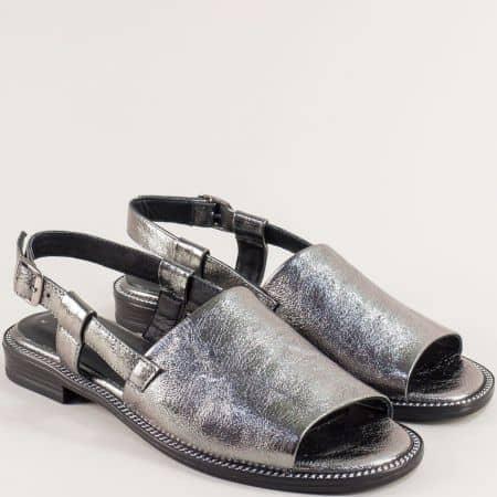 Бронзови дамски сандали от естествена кожа на равно ходило 160127brz