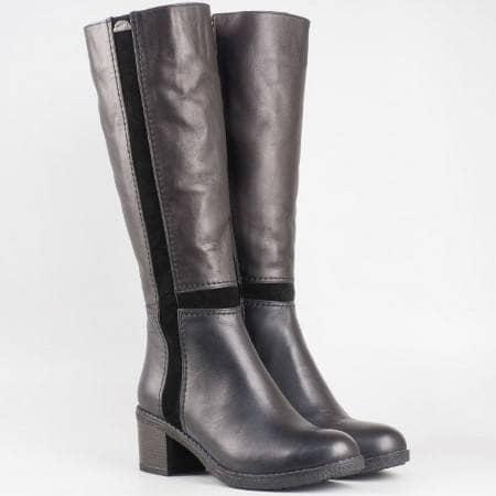 Дамски стилни ботуши изработени от 100% естествени материали в черен цвят 1602250ech