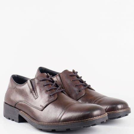 Мъжки ежедневни обувки Rieker-Antistress, от висококачествена естествена кожа с вградена Flex-Comfort система в кафяв цвят 16023kk