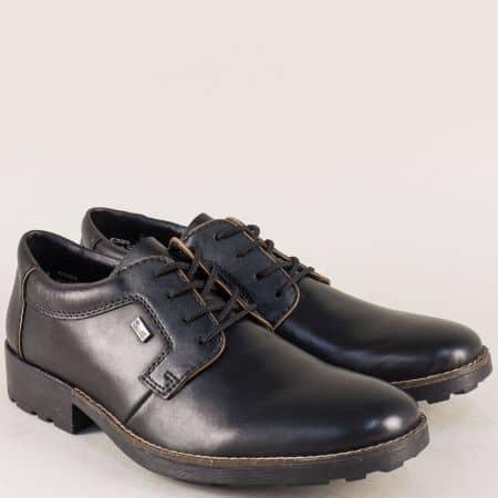 Черни мъжки обувки Rieker от естествена кожа с връзки 16024ch