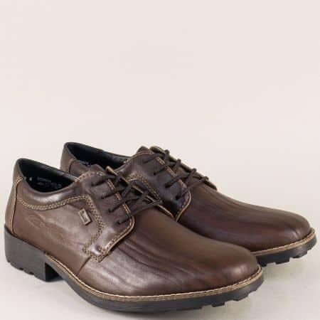 Тъмно кафяви мъжки обувки с връзки и грайфер- Rieker 16024kk