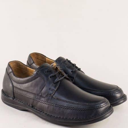 Мъжки обувки с връзки от естествена кожа в черен цвят 1602ch