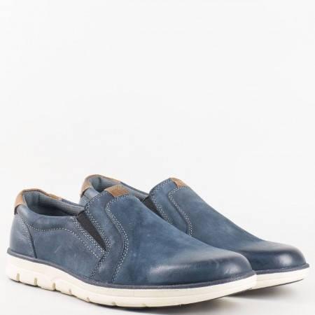 Мъжки комфортни обувки за всеки ден от естествен набук и кожа на Mat star в син цвят 16059101s