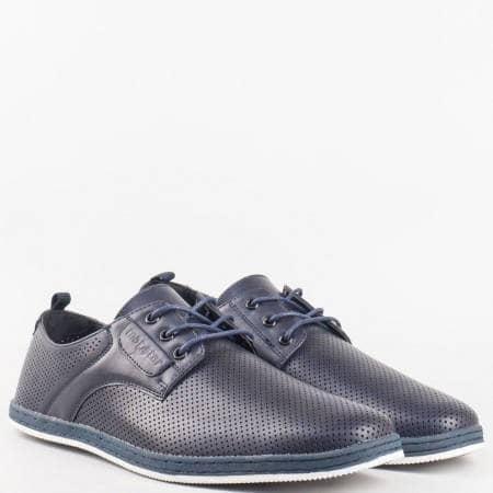Мъжки комфортни обувки за всеки ден с кожена стелка и перфорация на Mat star в син цвят 16061171s