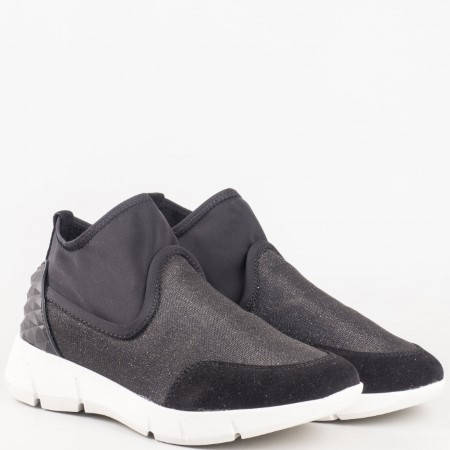 Модерни дамски спортни обувки на платформа в черен цвят 16065080ch