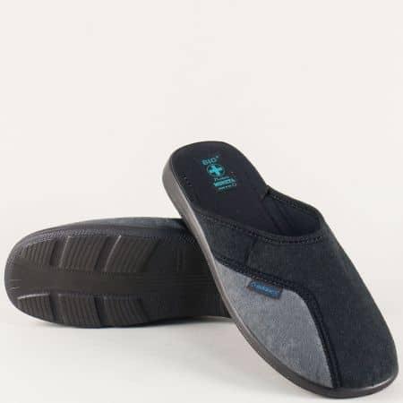 Мъжки пантофи в черен цвят на равно ходило 16077ch