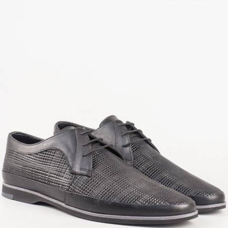 Интересни мъжки обувки с връзки от естествена кожа в черен цвят 16094ch