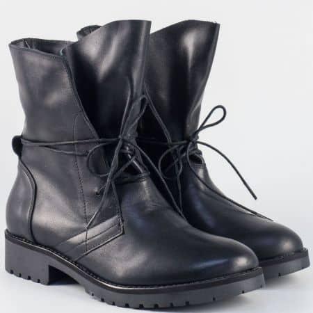 Черни дамски боти от естествена кожа на нисък ток 16109ch
