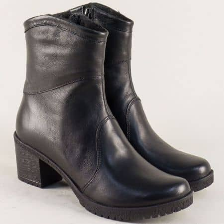 Дамски боти от естествена кожа в черен цвят на среден ток 16111558ch