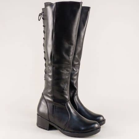 Български дамски ботуши от черна естествена кожа на нисък ток 1616658ch