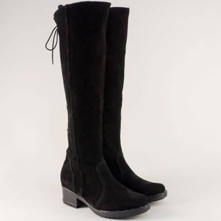 Велурени дамски ботуши с цип и връзки отзад в черно 1616658vch