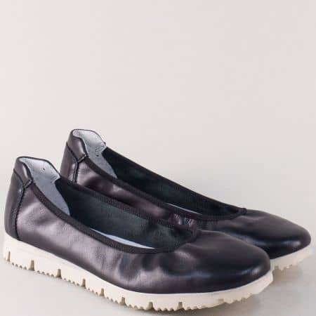 Черни дамски обувки Aeros от естествена кожа на равно ходило 161ch