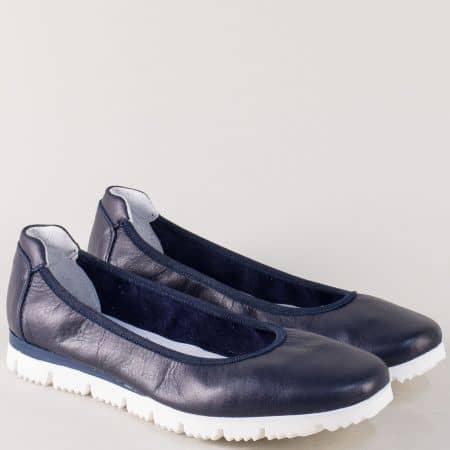 Кожени дамски обувки на равно ходило в син цвят 161s