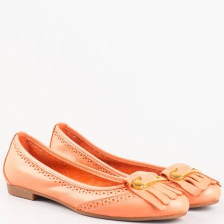 Балерини в оранж с перфорация и метален орнамент от естествена кожа 16204o