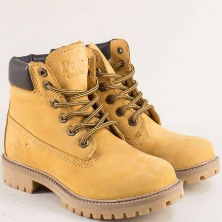 Жълти дамски боти от естествен материал на грайферно ходило 16306nj