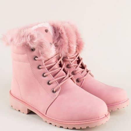 Розови дамски боти на удобно ходило и връзки  163070nrz