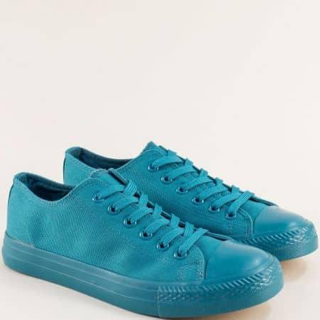 Дамски кецове с връзки на равно ходило в син цвят- MAT STAR 163268s