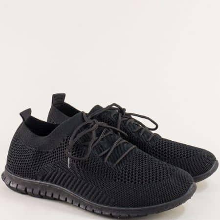 Спортни дамски обувки с връзки в черен цвят- MAT STAR 163324ch