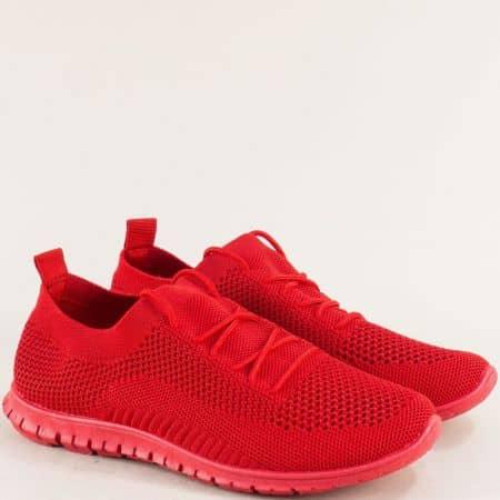 Спортни дамски обувки с връзки в червен цвят- MAT STAR 163324chv