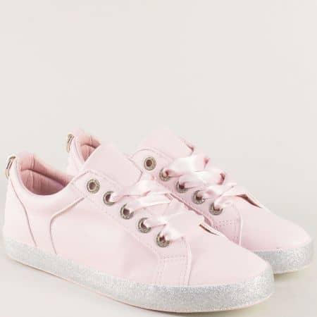 Розови дамски кецове с връзки на сребристо ходило  164049rz