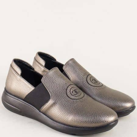 Бронзови дамски обувки с два ластика на равно ходило 1641198ibrz