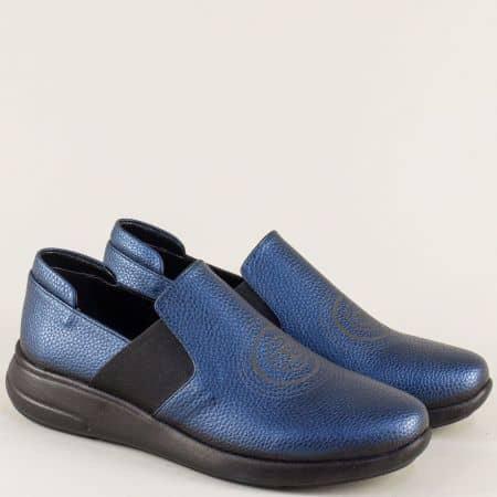 Кожени дамски обувки в синьо на равно ходило 1641198is