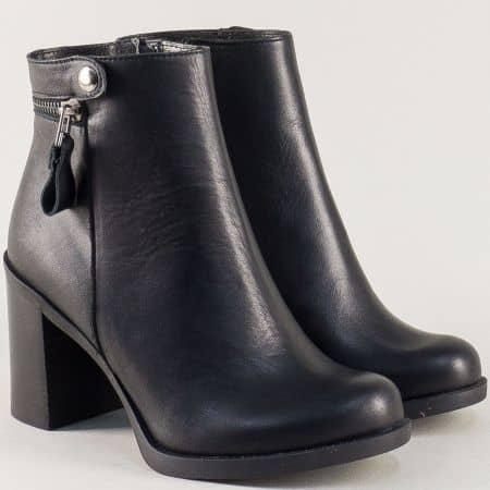 Черни дамски боти от естествена кожа на висок ток  16417ch
