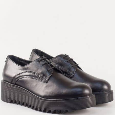 Черни дамски обувки с връзки на грайферна платформа- Nota Bene от естествена кожа изцяло 16421853ch
