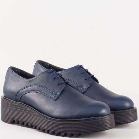 Актуални дамски обувки на платформа- Nota Bene от естествена кожа в син цвят 16421853s