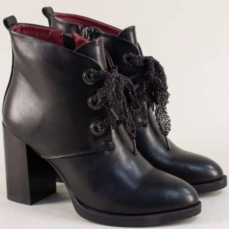 Черни дамски боти Eliza на висок стабилен ток  165265ch