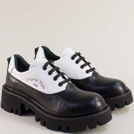 Дамски естествена кожа обувки черно и бяло 1652878chb