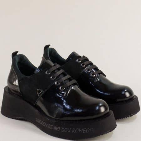 Черни дамски обувки лак и набук 1653032nchlch